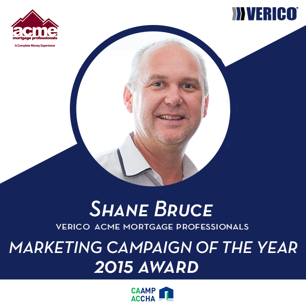 Shane Bruce wins Marketing Campaign of the Year 2015 Award
